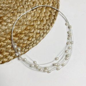 Honora Pearl Illusion Beaded Double Layer Necklace